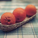 Oranges, wallpaper, table, tablecloth