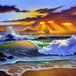 Sunset, Jim Warren, painting, sea