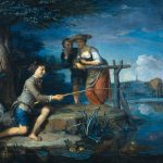 oil, angler, Cow, Landscape, picture, people, canvas, Karel de Moore