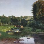 Picture, Kryzhitsky, The village on the banks of the river