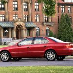 acura, tl, cars, red, buildings, side view, 1999, style, lawns wallpaper