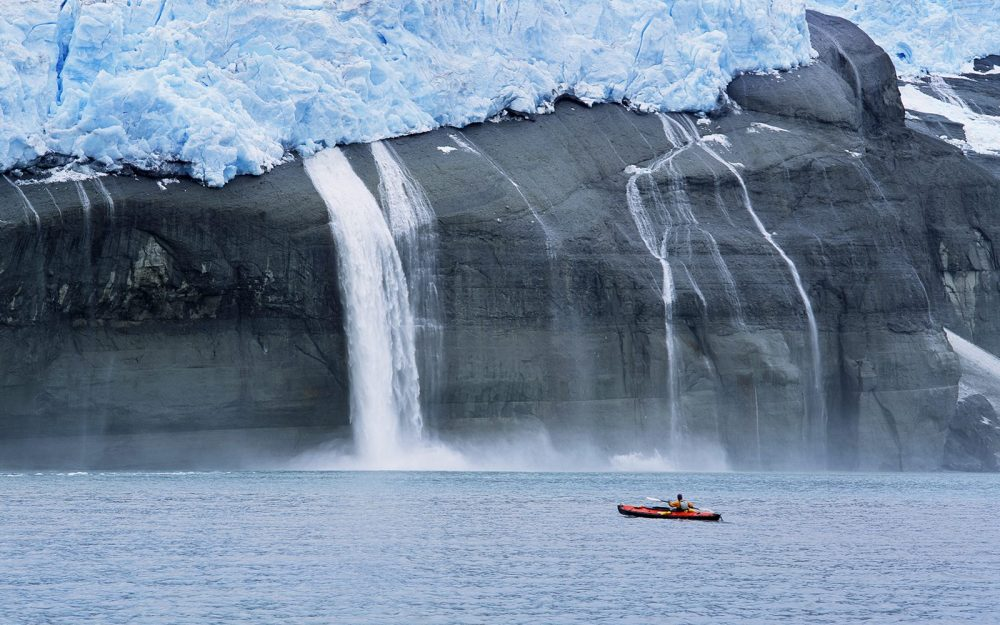 Kayaker and Hanging Glaciers, Icy Bay, Alaska