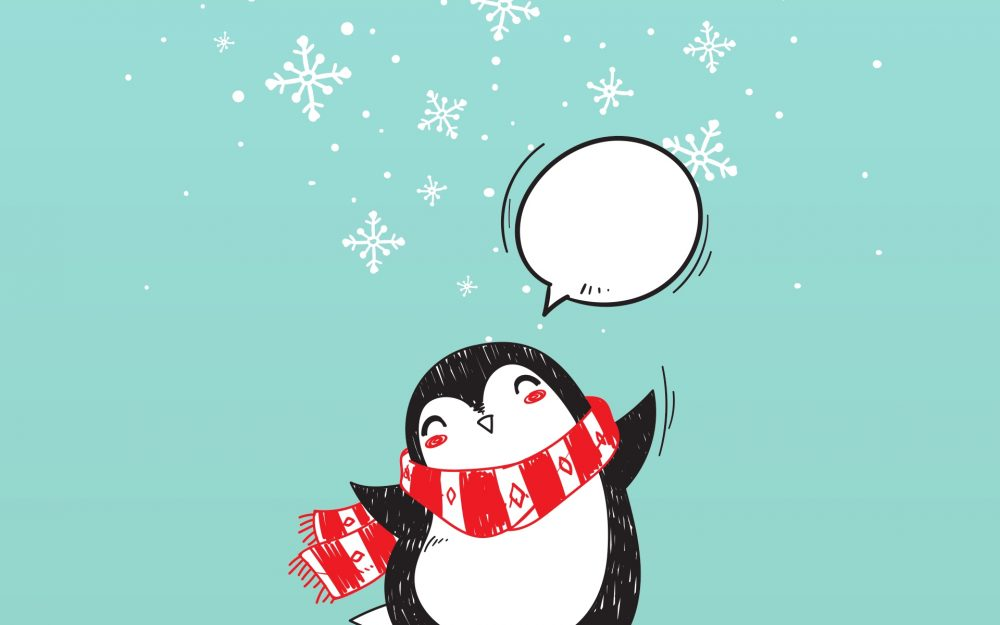 christmas, art, penguin