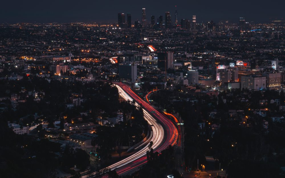 long exposure, city lights, night city, los angeles, night hd wallpaper