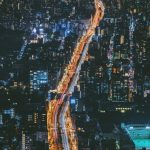 road, night city, view from above desktop background