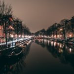 amsterdam, canal, city lights, night city desktop wallpaper