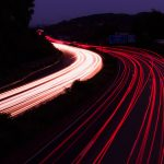 road, night, turn, backlight