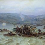 boats, across the Danube at Zimnitsa June 15, Nikolai DMITRIEV-ORENBURG, Water, Ferry of the Russian army, explosions