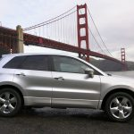 bridge, cars, river, side view, jeep, acura, silver metallic, style, rdx