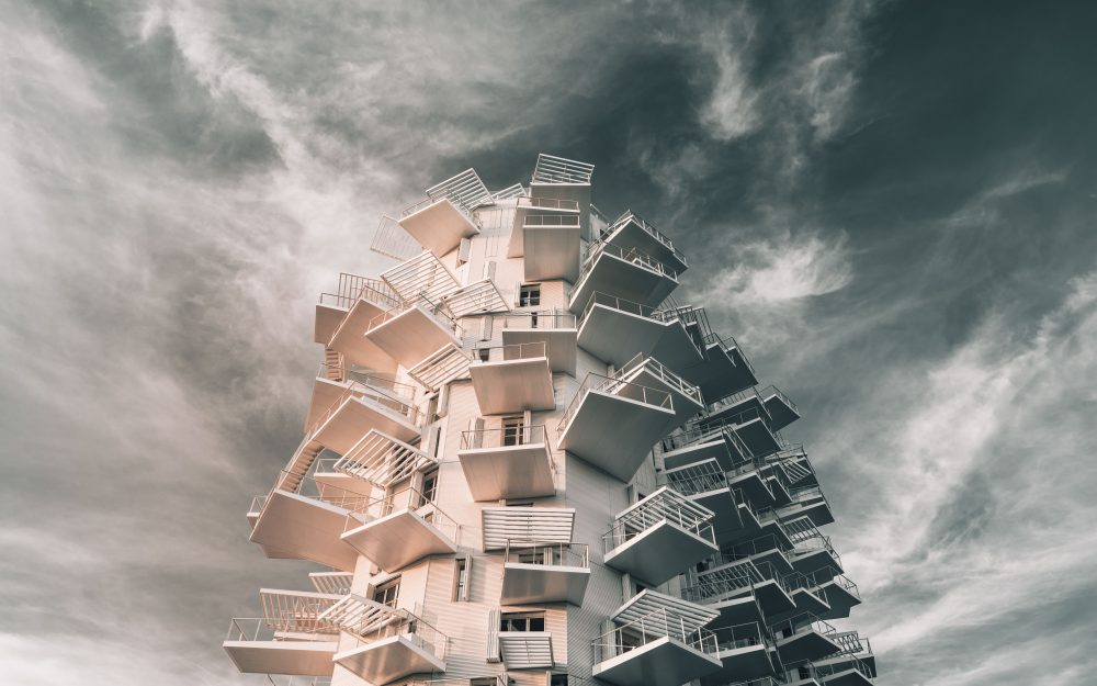 facade, clouds, building, architecture