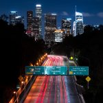los angeles, long exposure, night city, buildings, city lights, road