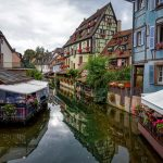 flowers, cafes, half-timbered houses, canal, colmar