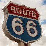 sign, sky, Route 66, highway, clouds