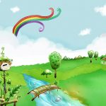 Summer cartoon landscape desktop background picture
