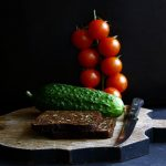 tomatoes, cucumber, bread