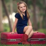 Cute little girl HD children's wallpaper sitting on the suitcase