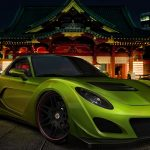Mazda RX-7, green, street, night, landscape wallpaper