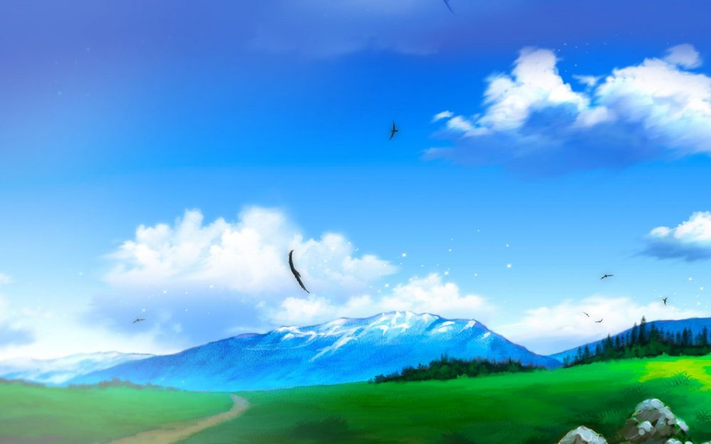 Blue sky, white clouds, anime scenery wallpaper