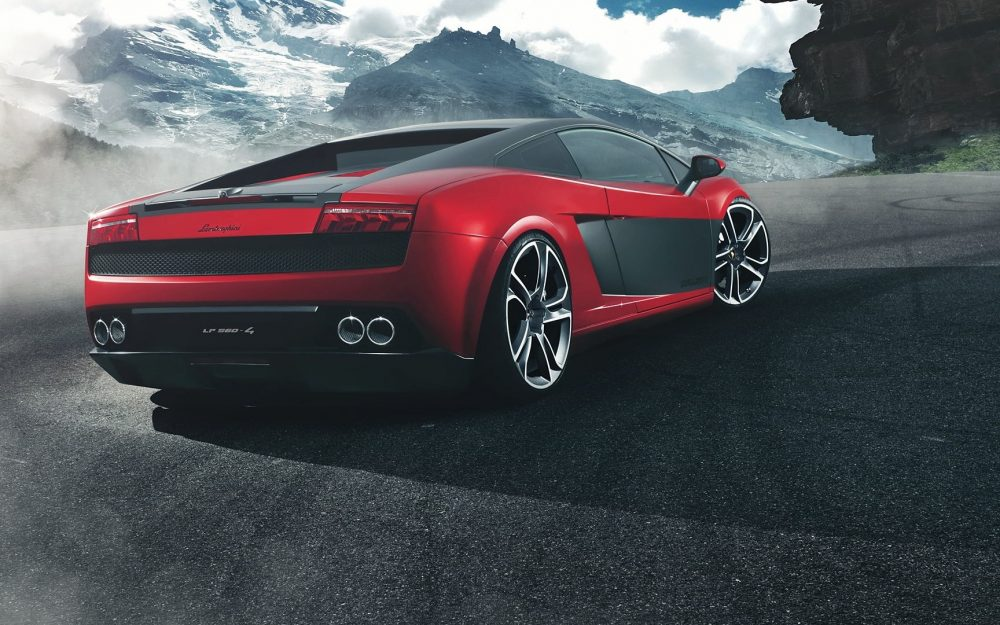 Lamborghini Gallardo LP560-4, red, back, landscape wallpaper