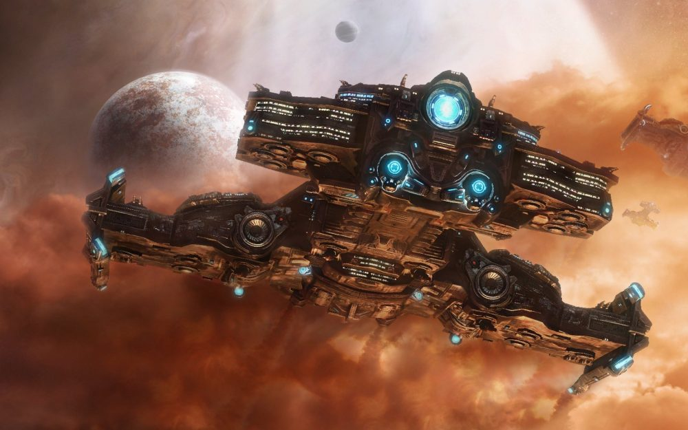 Battle cruiser, stars, starcraft2, planet