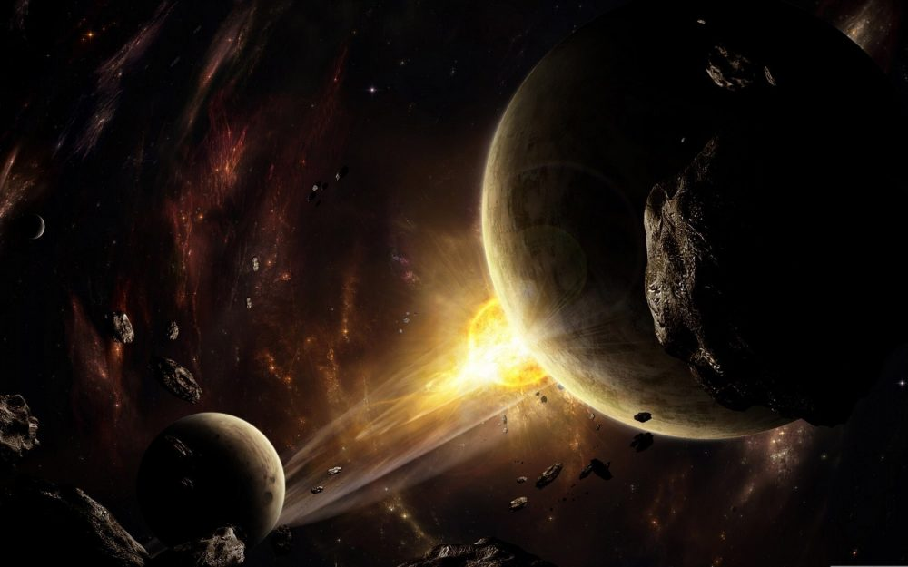 Explosion, flash, space, asteroids, space, planets