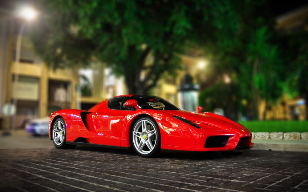 Ferrari, enzo, red, city, night, lights, desktop wallpaper