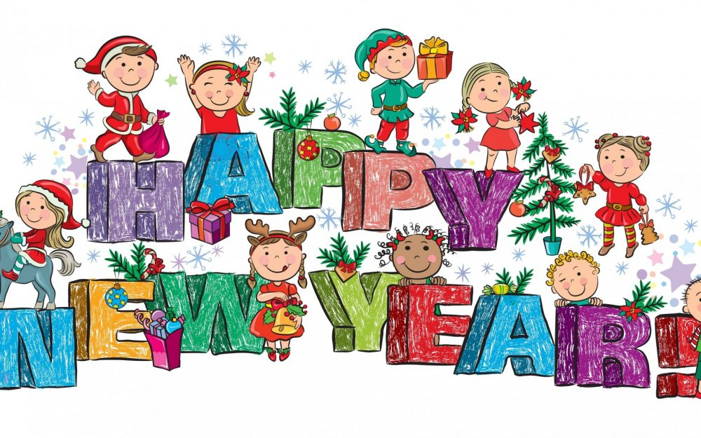 Happy new year, children, toys, gifts, Christmas tree, Merry Christmas, cute desktop wallpaper