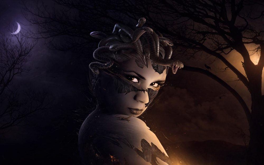 gorgon, moon, night, medusa desktop wallpaper