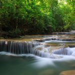 Beautiful waterfalls in the picturesque forest