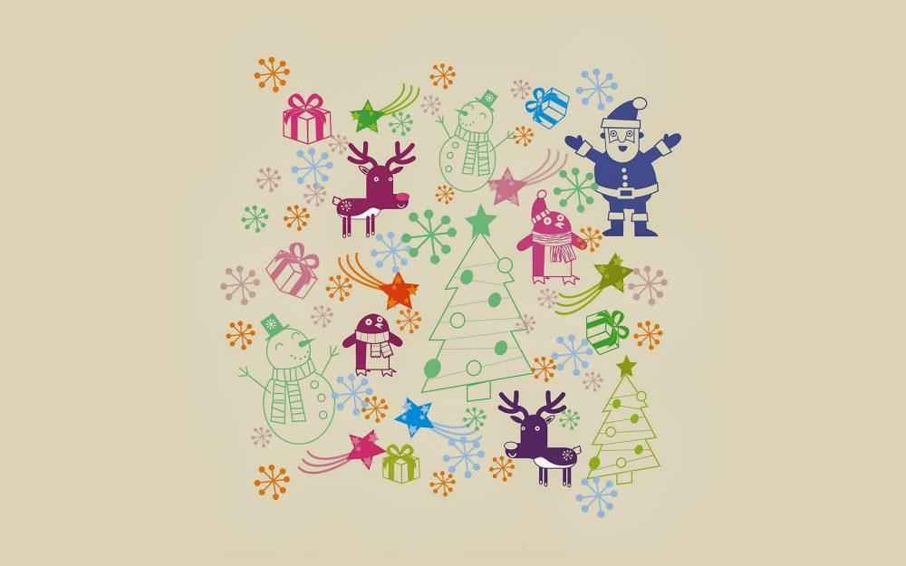 Cute Christmas, Christmas Gift, Merry Christmas, Elk, Christmas Tree, Penguin, Snowman, Stars, Creative, Painting Wallpaper