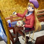 Cute anime girl wallpaper painting landscape