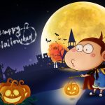 A U Halloween, moon, cute pumpkin lights, bats, desktop wallpaper