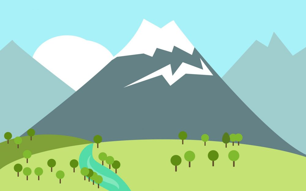 mountain minimalism river trees mountain minimalism river trees
