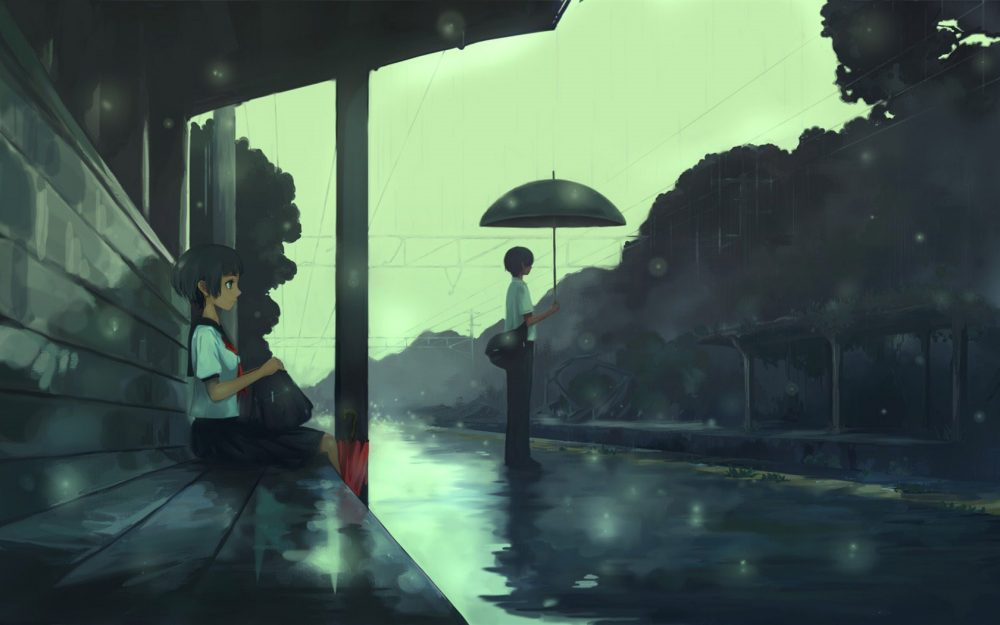 Boys and girls waiting for the platform, anime desktop wallpaper