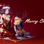 Merry christmas, girl, eyes, hat, red christmas wallpaper