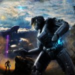 Pistol, Halo, sky, soldier, armor, helmet, mountains