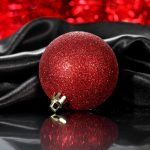 Christmas tree, ball, reflection, new year, toy, red
