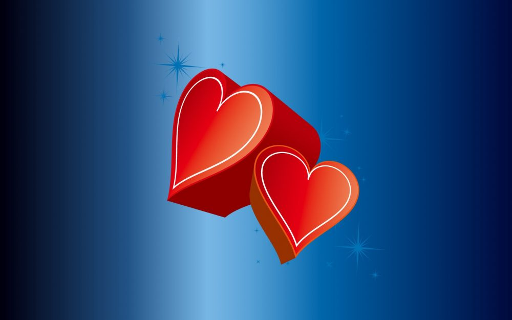 red, blue, couple, heart