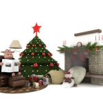 star, gifts, chair, sheep, fire, christmas tree, holiday