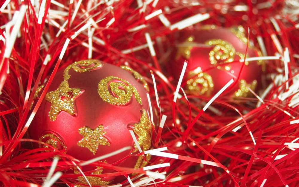 spheres, tinsel, red, new year, christmas