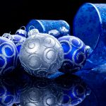 Balls, silver, decoration, ribbon with snowflakes, Christmas tree, reflection, blue