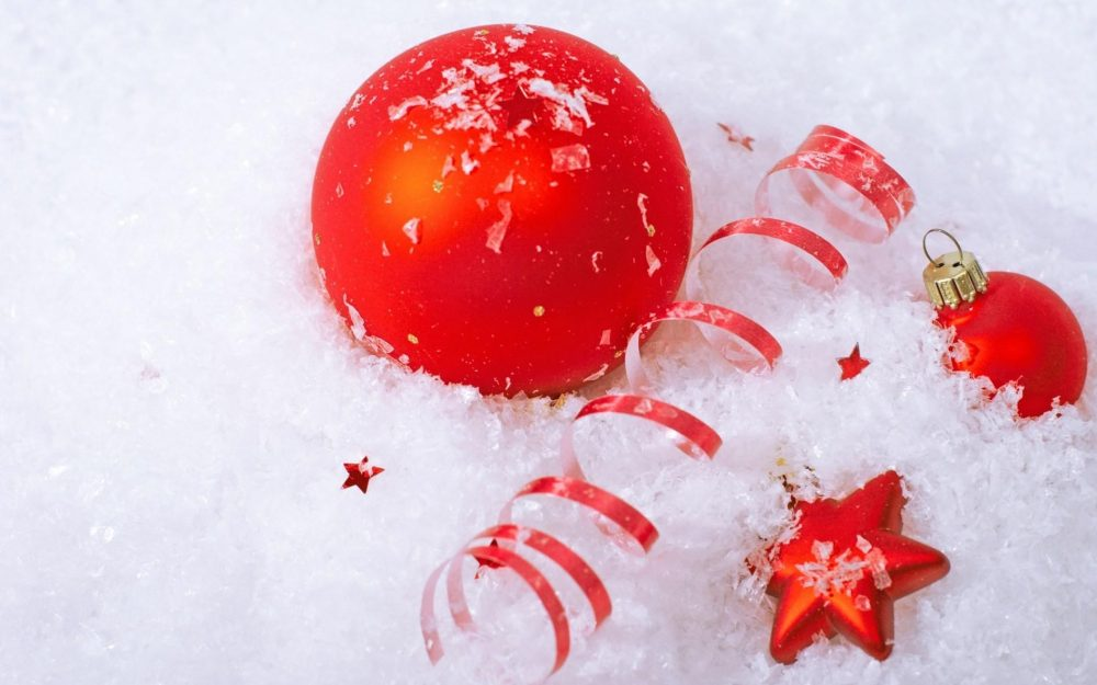 christmas decorations, attributes, snow, balloons, star