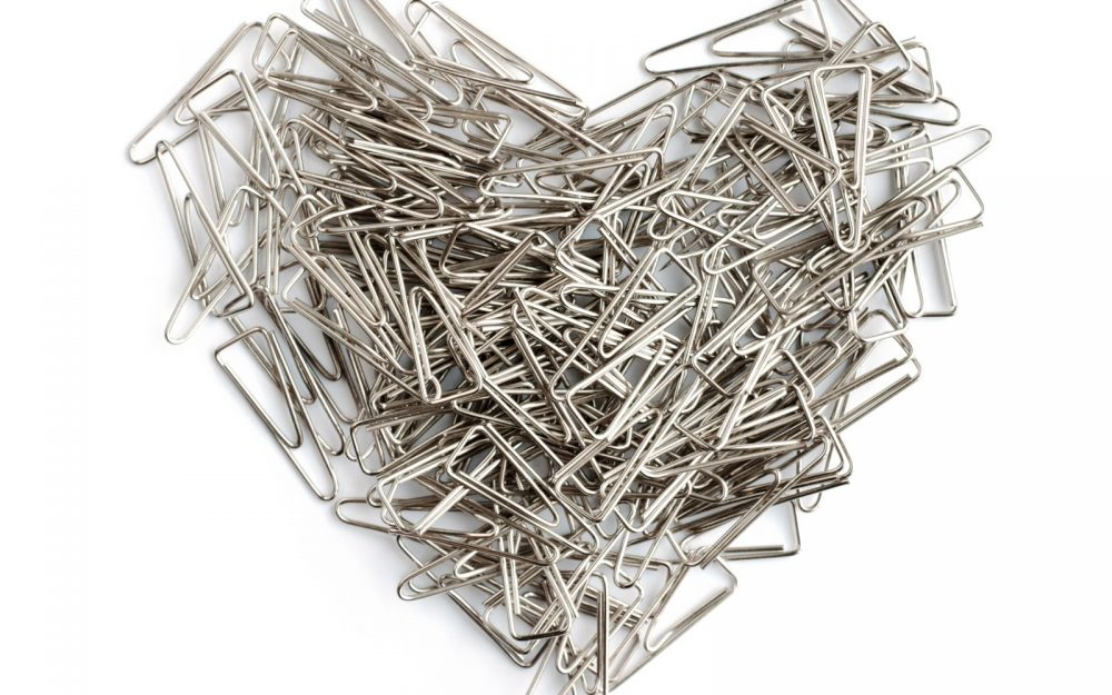 barbed, separation, staples, heart