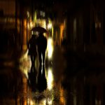 umbrella, silhouettes, walk, couple, rain