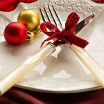 Dishes, bow, balls, New Year's, New Year's table setting, knife, New Year