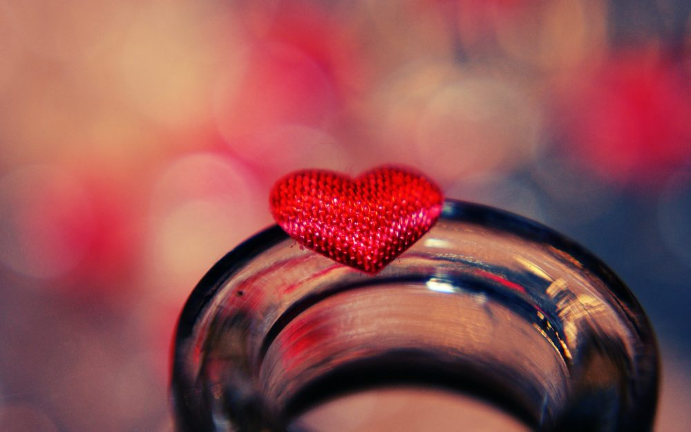 heart, glass, glare