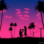 love, silhouettes, romance, night, couple