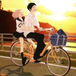 Cycling couple anime desktop wallpaper