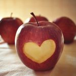 heart, food, apple