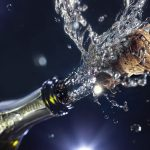 Splashing, champagne, holiday, cork, bottle